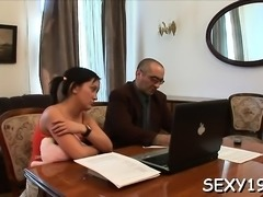 Playgirl is getting her twat ravished by teacher on the sofa