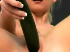 Horny blonde milf striptease played on her hairy pussy with black thic