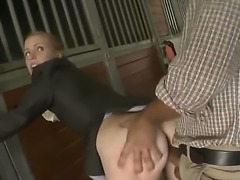 Very sexy blonde chick Ryann got her jockey pants pulled down and having