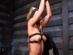 Spider gagged blonde slave spanked