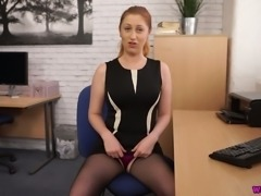 Horn-mad light haired secretary flashes her legs and masturbates herself