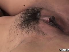 Skinny Thai bitch getting her wet pussy fucked hard