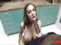Dirty white tattoo girl taking big black negro cock up her a