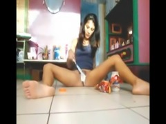 Brazil teen covers herself in food and masturbates