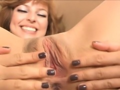 Slutty girl taking off underware and inserting dildo in cunt