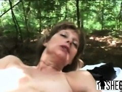Nasty granny enjoys outdoor fucking