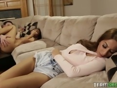 While GF sleeps lewd dude gets BJ from a naughty tanned brunette