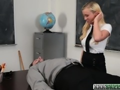 Schoolgirl Bailey Brooke sucks off and fucked by her teacher