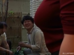 Well-endowed Japanese cutie Saegusa Chitose has her boobs squeezed