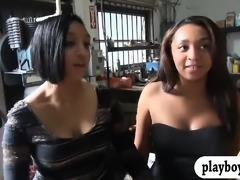 Hot ladies convinced to flash their tits in car garage