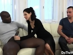 Brunette housewife takes a big black dick in her ass