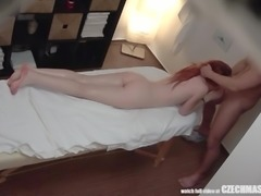 A soothing massage was all that this redheaded Czech beauty wanted. But the feeling of her hunky masseur's hands, gliding all over her creamy white body, was unbearably arousing. Watch as she turns to take his hard cock in her mouth, and then in her hungry pussy.
