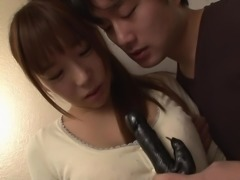 naughty japanese cutie gets a dildo in her cooch