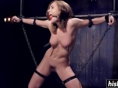 Incredible brunette gets tied up before she receives pleasure in hardcore fashion.
