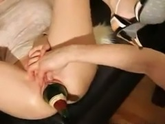 My stretched acrobat cunt swallows bottle of champagne