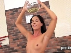 Adorable chick is pissing and pleasuring bald hole35PLB