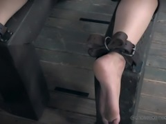 The master wants to use his slaves in any sexual way that he can. He starts by putting one of the sex slaves in a cage and the other gets strapped to a table in the dungeon, so he can use her pussy, and make her cum.