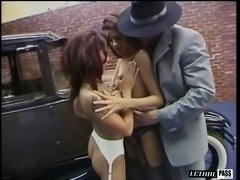 Retro looking sluts gonna share strong stud's dick for wild MFF threesome