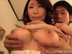 wistful mature amateur with big natural tits getting her tits caressed while she gives a hot hand job
