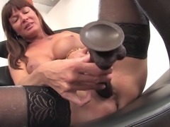 Cute Krystina inserting monster toy in her tight pussy