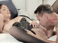 Beautiful babe in corset Krissy Lynn tenderly rides fat cock on top