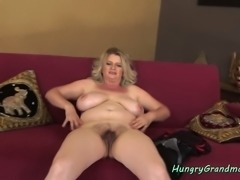 Buxom granny gives tijob and rides cock