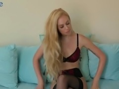 Long legged giggling nympho in sexy lingerie Lyra Law exposes hairy cunt