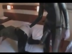 Mistress double fisting and pegging her slave's ass