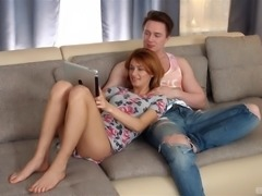 Redhead babe Esperanse seduced by her insatiable hunk