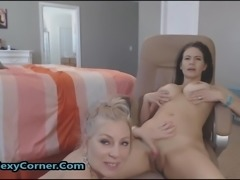 Busty Lesbian Sharing Double Ended Dildo