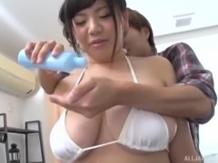 Chubby brunette Japanese woman wants to play with a big dick