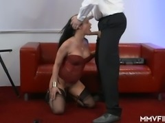 Buxom lady in red corset Anna Von Freienwalde bends over and gets nailed doggy