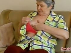 Seductive grandma solo striptease nude older mature breasts footage