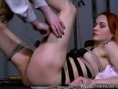 Dirty Marys lesbian bondage and electro bdsm of redhead slave in femdom...