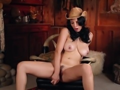 "Busty cowgirl Jelena Jensen is having a ""me"" time in the country house"