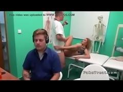 Blonde masturbates cheating sex in doctors bathroom | hard sex with doctor |