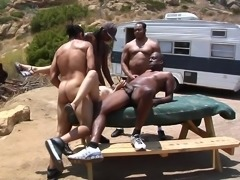 Christina Agave penetrated with big black cocks in outdoor gangbang