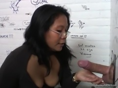 A mature Asian Mom gives head to strangers in bathrooms