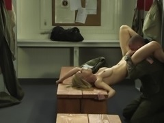 Couples in military uniform have hot hardcore sex in the locker room