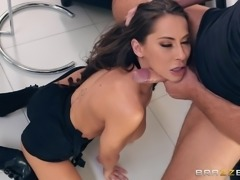 German porn star, Madison Ivy, was teasing her fans, sucking on a huge dildo, being online. She was so carried away, that she did not notice how the stranger entered her apartment. This pervert was spying at her for quite a long time and now he was determined to replace her dildo with his already hard cock...