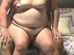 Asian amateur mature woman get fat man on sofa