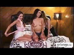 Lesbian teen Melissa looking horny in a hot threesome