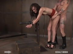Can this Slave possibly withstand the hard fucking the master will give to her in the dungeon? He is going to break her by ramming her deep and fingering her sore pussyhole, until she can't take it anymore.