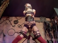 Abigail is enjoying this, although it may sometimes not look or sound like it. She's bound in Master James' dungeon, receiving all the punishment and rewards that she can handle. She will take more than that, though, if it means more time down here.