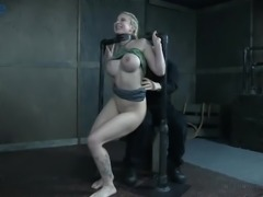 Big booty of submissive busty blondie Leya Falcon gets slapped hard