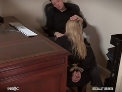her main duty is to swallow her boss's big cock as deep as possible
