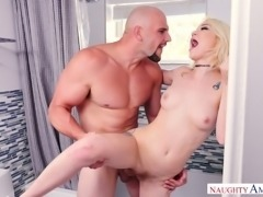 Tattooed pale chick Dakota gets fucked from behind in the bathroom