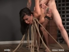 Honey, it's time for an intense pussy pounding! Believe me, in this position and tied with ropes, you will get maximum pleasure.  In this scene busty babe Lily Lane will be brutally fucked by her torturer...