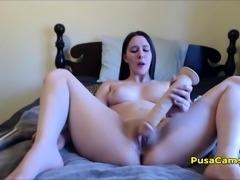 Chubby Curvy Teen  Big Dildo Masturbation EASY