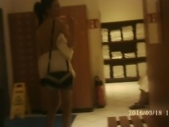GIrl in the Locker room from behind